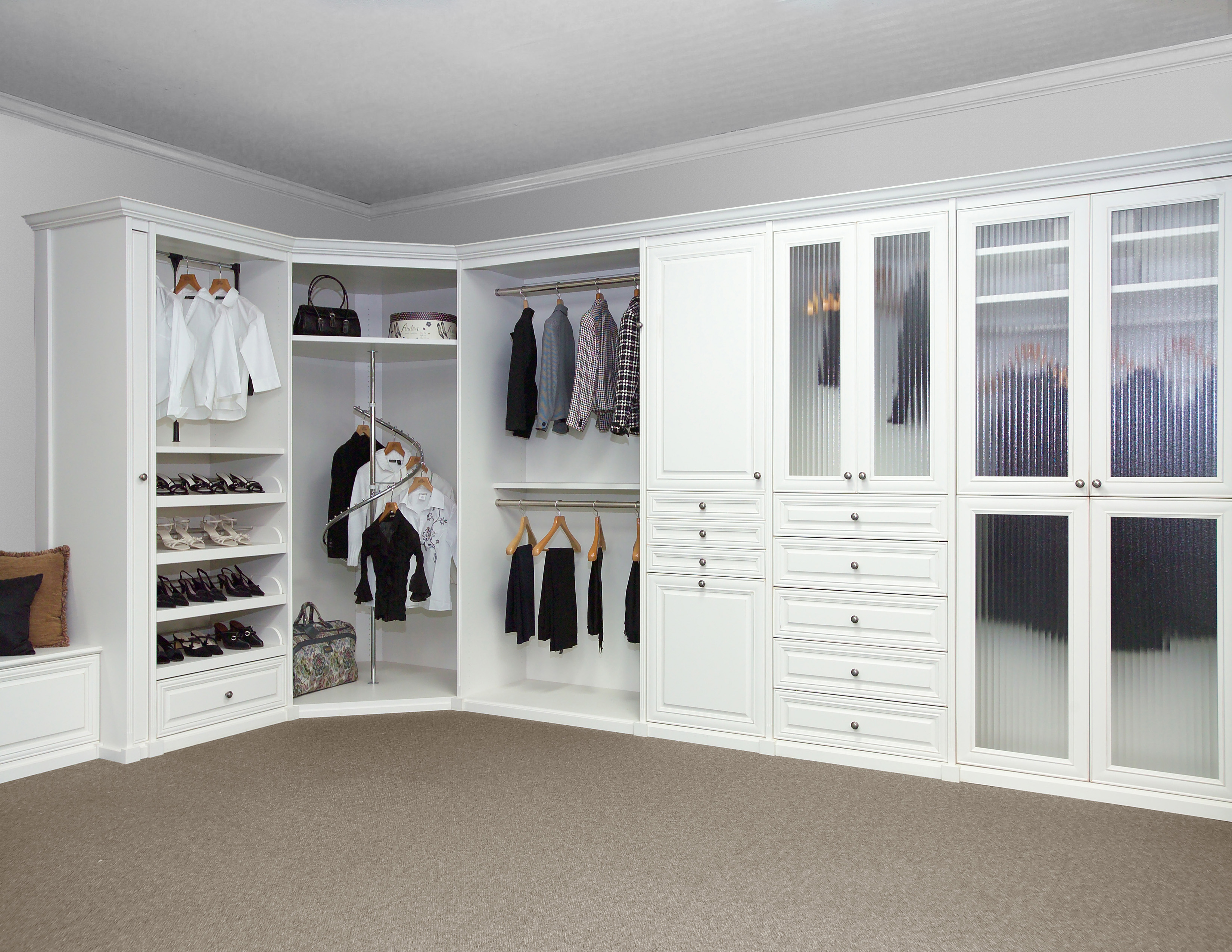 Modern White Walk In Closet