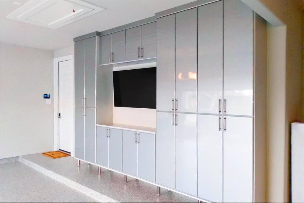 Custom garage cabinets and new garage floor