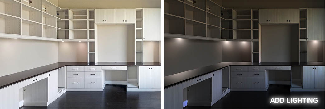 Custom home office by SpaceManager Closets day and night