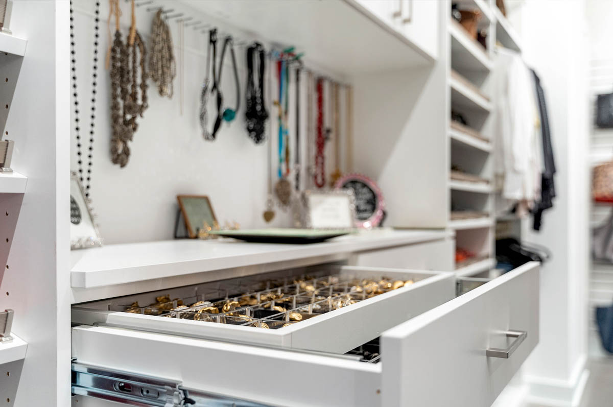 Double jewelry drawer with wallet drop
