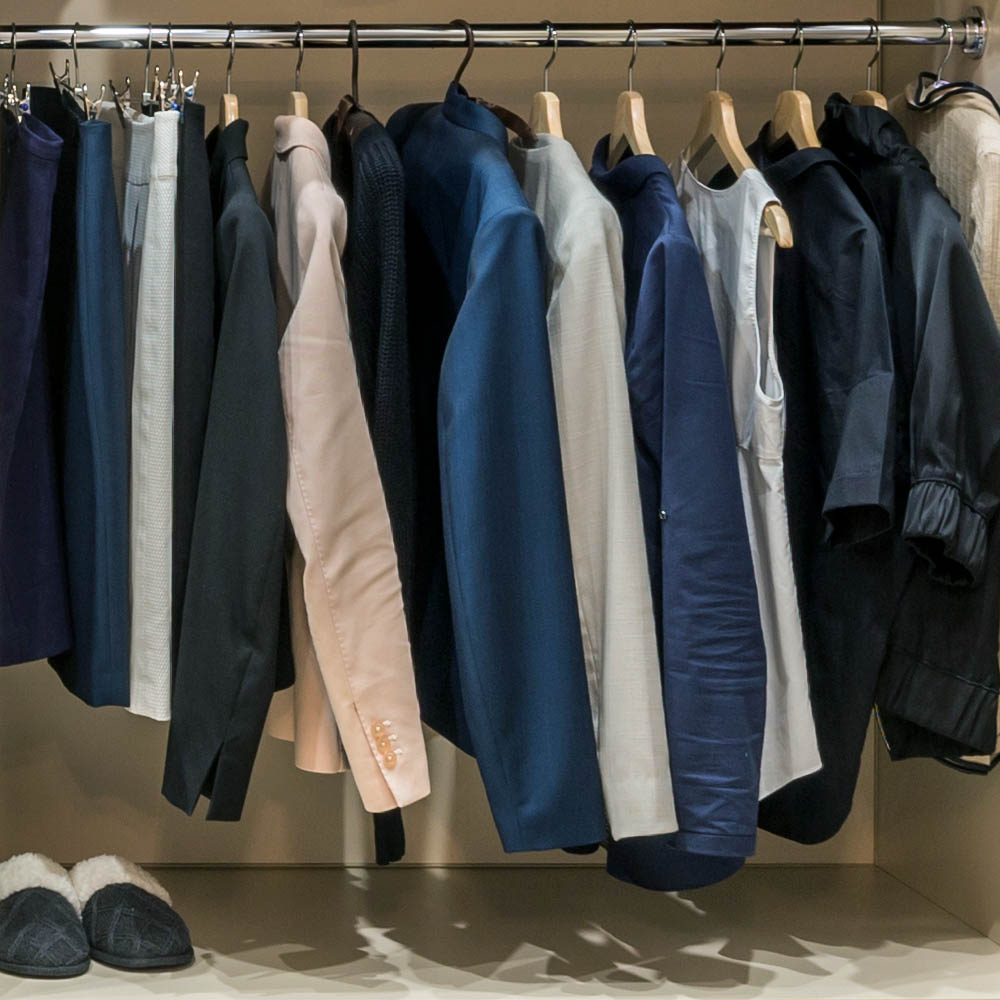 Reach in Closet high end jacket hang area