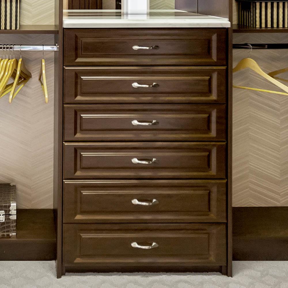 Reach in closet drawer stack