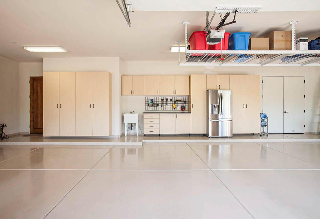 Custom Garage with cabinets