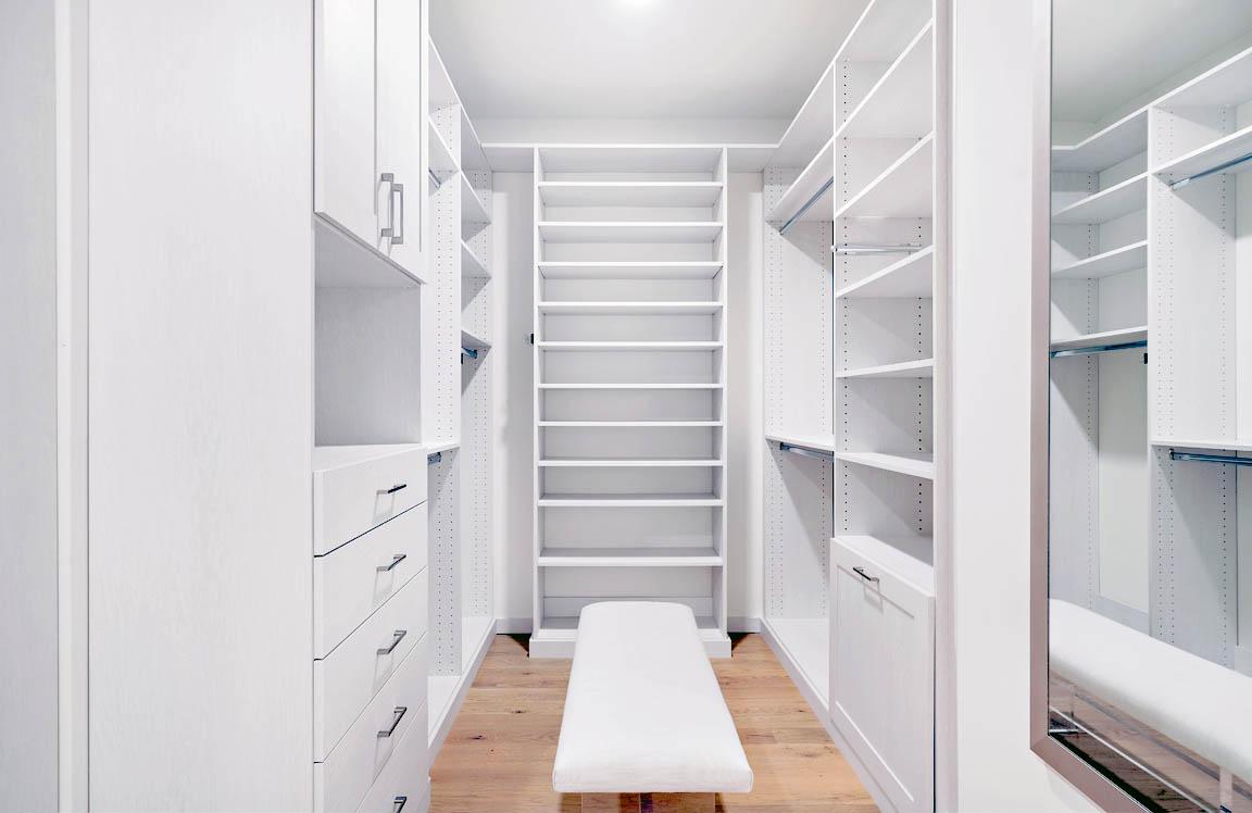 Custom walk in closet clean white